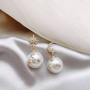 ✨ Star and moon 🌙 pearl earrings